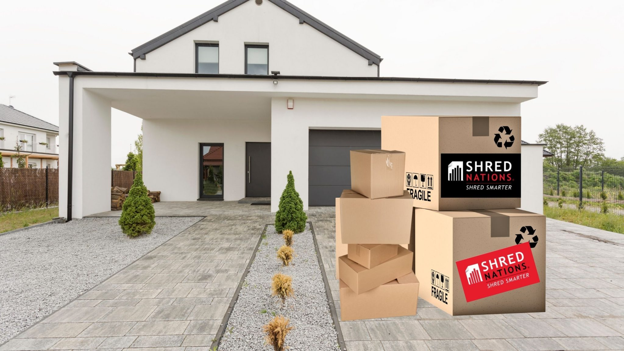 Moving boxes in driveway