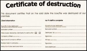 Certificate of Destruction Sample