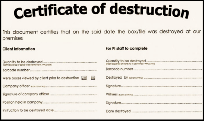 certificate of data destruction template - certificate of destruction for document shredding shred