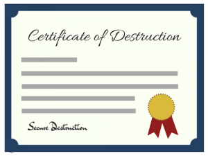 Certificate of Destruction