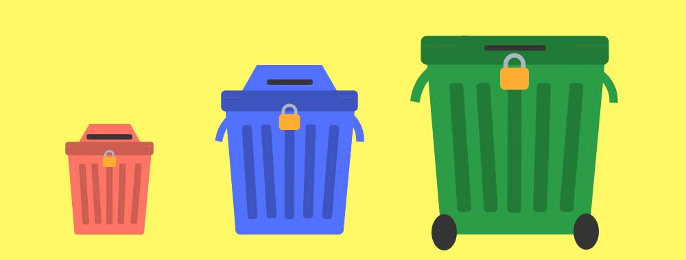Choose the right sized shredding bin