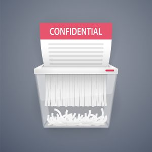 Shredding bins help companies shred large volumes of paperwork.