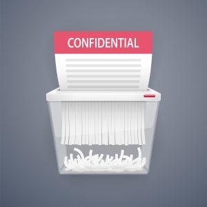 Shredding bins help companies shred large volumes of paperwork.