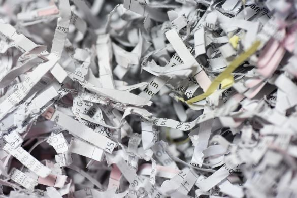 Paper Shredded by the Pierce and Tear Method