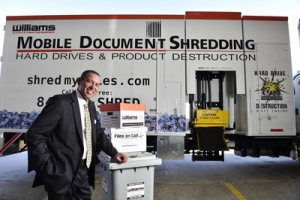 Williams Data Management mobile document shredding truck owner