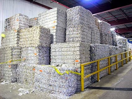 Bales of shredded paper can be recycled