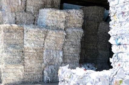 bales of shredded paper