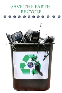 "recycle bin filled with old ""e-waste"" for recycling of out dated"