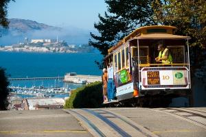San Francisco cable cars and Alcatraz Island