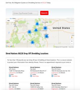 Selecting Drop Off Shredding Locations