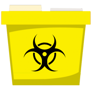 Yellow medical waste container